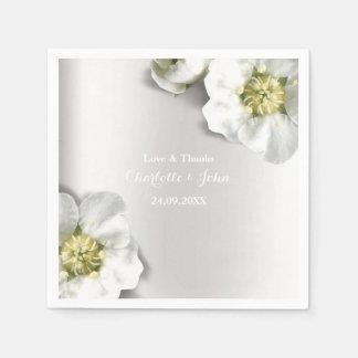 Guardanapo De Papel Floral metálico de prata cinzento branco perolado