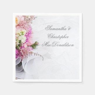 Guardanapo De Papel Flores cor-de-rosa e brancas e vestido de