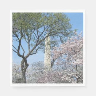 Guardanapo De Papel Flores de cerejeira e o monumento de Washington na