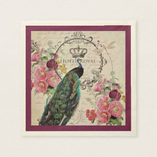 Guardanapo De Papel Flores do pavão e do primavera