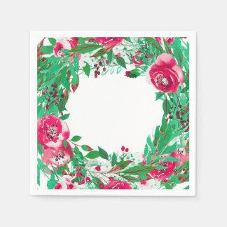Guardanapo De Papel Flores florais do Natal verde vermelho do feriado