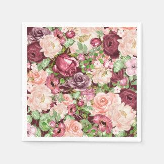 Guardanapo De Papel Flores florais rústicas marrons de Marsala
