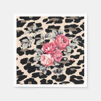 Guardanapo De Papel Flores modernas bonitos no impressão do leopardo