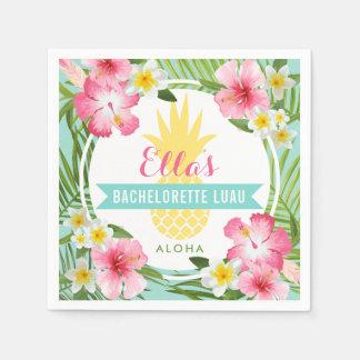 Guardanapo De Papel Flores tropicais do abacaxi de Bachelorette Luau |