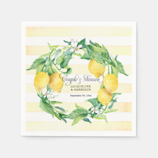 Guardanapo De Papel Folha da flor da grinalda do limão do citrino do