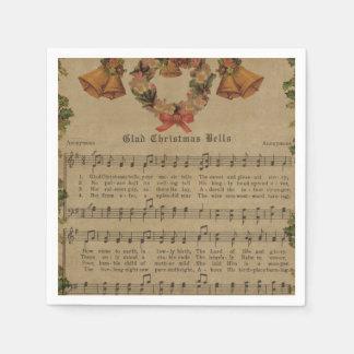 Guardanapo De Papel Folha de música da canção de natal do natal