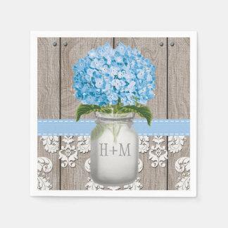 Guardanapo De Papel Frasco de pedreiro Monogrammed azul do Hydrangea