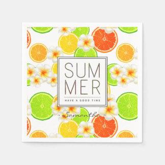 Guardanapo De Papel Frutas frescas do verão e flores exóticas do