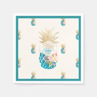 Guardanapo De Papel Fundo dos abacaxis de PixDezines Aloha/Teal/DIY