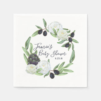 Guardanapo De Papel Gardenia rústico do chá de fraldas e romântico