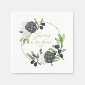 Guardanapo De Papel Gardenia rústico e romântico do chá de fraldas