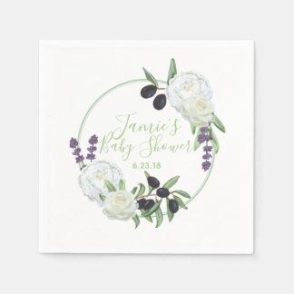 Guardanapo De Papel Gardenias românticos do chá de fraldas floral