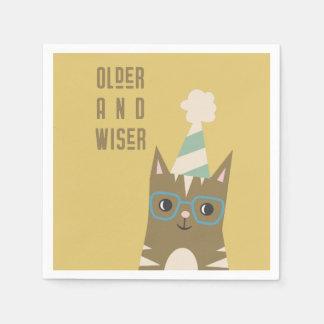 Guardanapo De Papel Gato de gato malhado com aniversário dos vidros