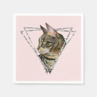 Guardanapo De Papel Gato de gato malhado com quadro do brilho da prata