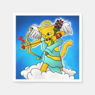 Guardanapo De Papel Gato do Cupido do amarelo do gengibre do dia dos