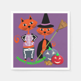 Guardanapo De Papel Gatos felizes bonitos do partido do Dia das Bruxas