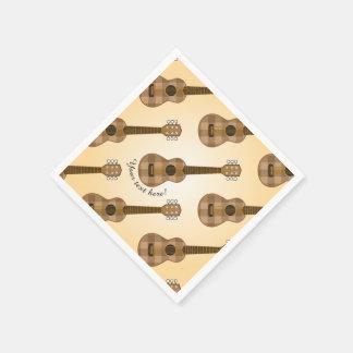 Guardanapo De Papel Gráfico Checkered bonito da guitarra de Brown