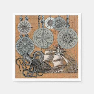Guardanapo De Papel Gráfico náutico do impressão da arte do vintage do
