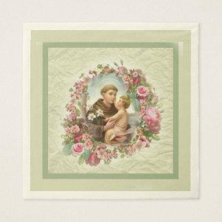 Guardanapo De Papel Grinalda cor-de-rosa dos rosas de Jesus do bebê de