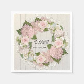 Guardanapo De Papel Grinalda de madeira dos rosas do Hydrangea do laço