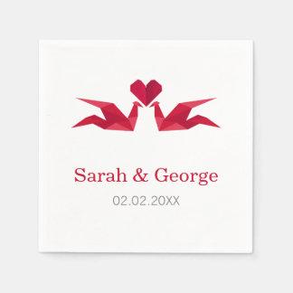 Guardanapo De Papel guindastes vermelhos do origami que Wedding