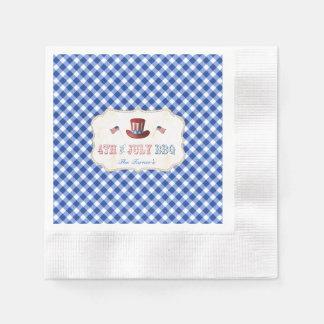 Guardanapo De Papel Guingão azul rústico original 4o DO CHURRASCO de