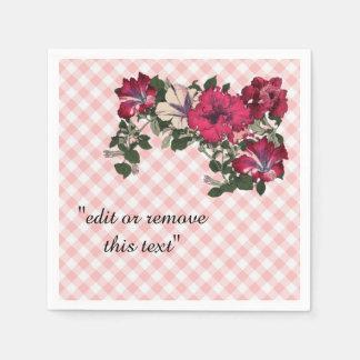 Guardanapo De Papel Guingão cor-de-rosa tradicional com flores