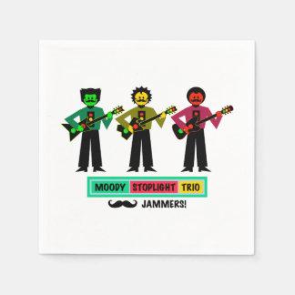 Guardanapo De Papel Guitarristas temperamentais 1 do Mustachio do trio
