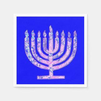 Guardanapo De Papel Hanukkah cor-de-rosa azul Menorah 4Hannah