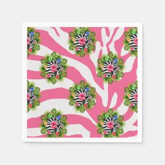 Guardanapo De Papel Hibiscus tropical e listras cor-de-rosa exóticas