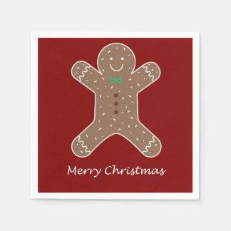 Guardanapo De Papel Homem de pão-de-espécie do Natal no vermelho