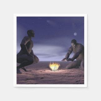 Guardanapo De Papel Homo erectus e fogo - 3D rendem