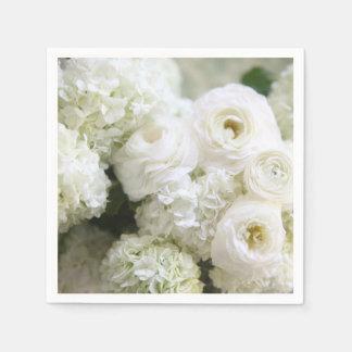 Guardanapo De Papel Hydrangeas e ranúnculo brancos