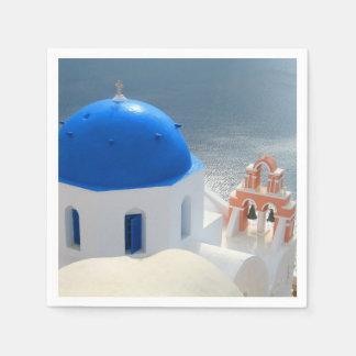Guardanapo De Papel Igreja de Santorini na tarde Sun