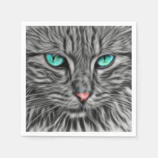 Guardanapo De Papel Ilustração cinzenta do gato do Fractal