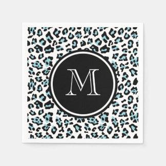 Guardanapo De Papel Impressão animal do leopardo preto do Aqua com