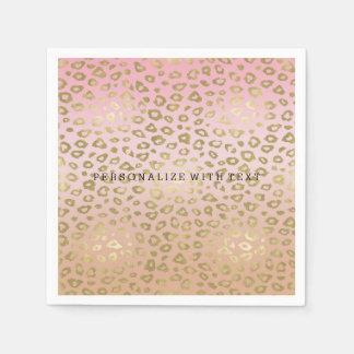 Guardanapo De Papel Impressão cor-de-rosa do leopardo do ouro de Ombre