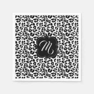 Guardanapo De Papel Impressão preto e branco do leopardo com monograma