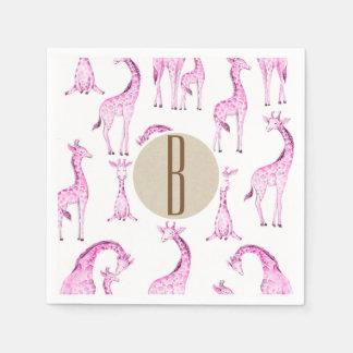 Guardanapo De Papel Inicial cor-de-rosa da letra do monograma do chá