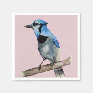 Guardanapo De Papel Jay azul na pintura da aguarela do ramo