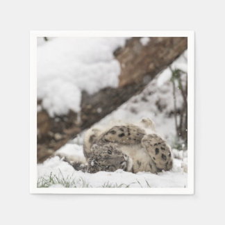 Guardanapo De Papel Jogos bonitos do leopardo de neve na neve