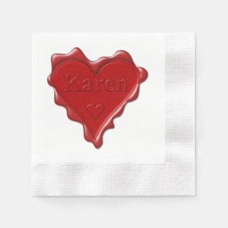 Guardanapo De Papel Karen. Selo vermelho da cera do coração com Karen