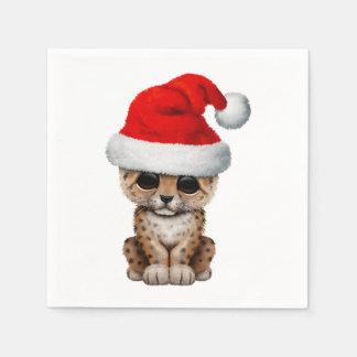 Guardanapo De Papel Leopardo bonito Cub que veste um chapéu do papai
