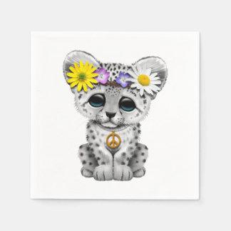 Guardanapo De Papel Leopardo de neve bonito Cub do Hippie