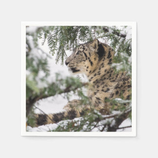 Guardanapo De Papel Leopardo de neve sob Bush nevado