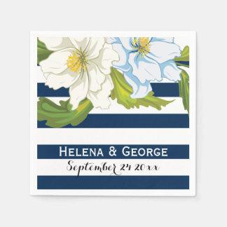 Guardanapo De Papel Listras azuis escuro & casamento floral moderno