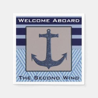 Guardanapo De Papel Listras náuticas do design & dos azuis marinhos da