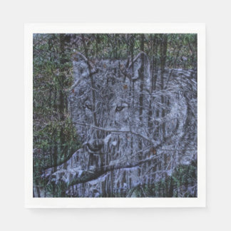 Guardanapo De Papel Lobo cinzento dos animais selvagens selvagens da