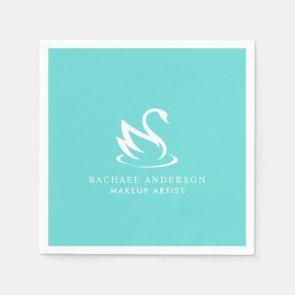 Guardanapo De Papel Logotipo branco minimalista da cisne no azul do