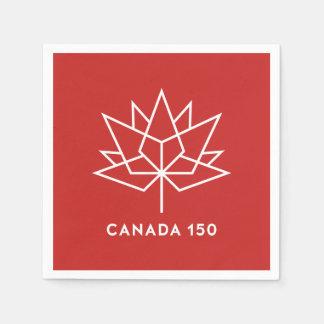 Guardanapo De Papel Logotipo do oficial de Canadá 150 - vermelho e